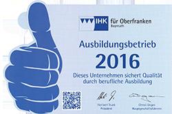 Urkunde Ausbildungsbetrieb 2016