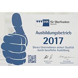 Urkunde Ausbildungsbetrieb 2017